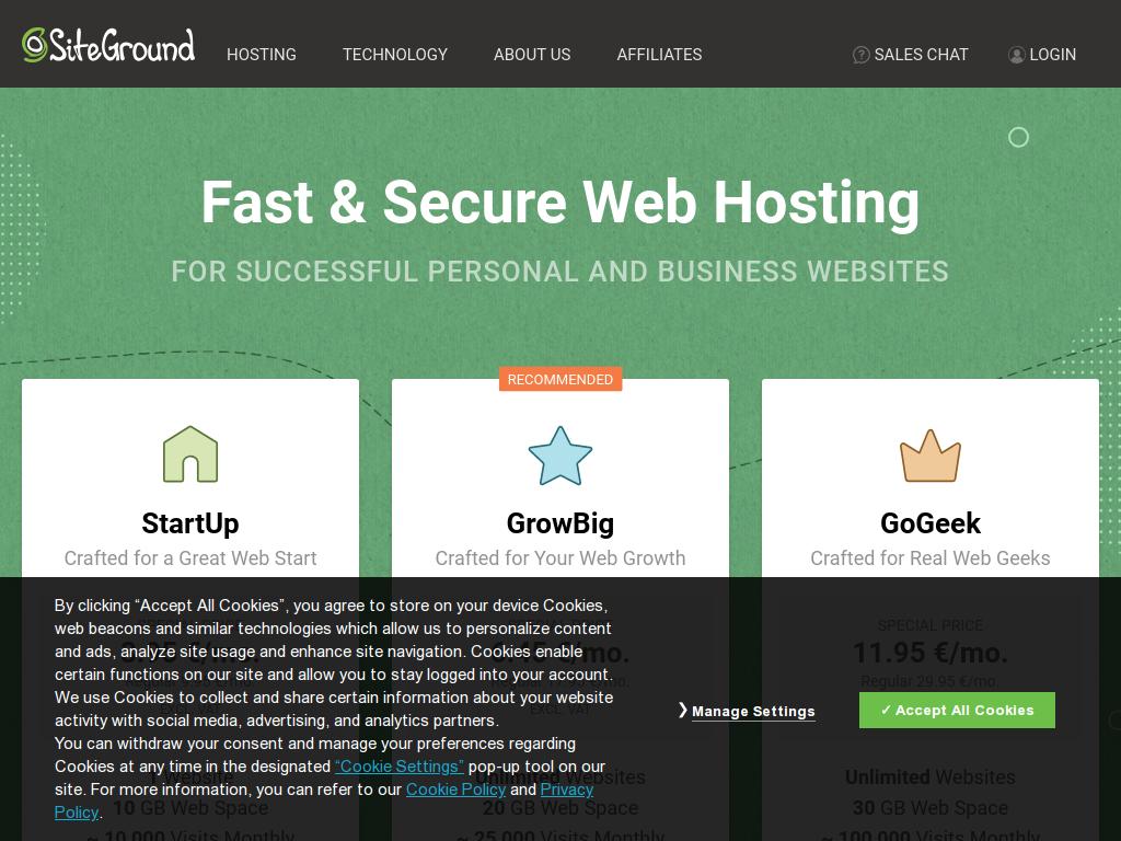 Хостинг и домейн услуги от SiteGround - SEVEN.BG